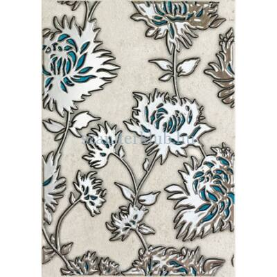 domino gris flower turkus dekor 250 x 360 mm